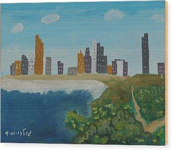 Tel Aviv Coastline Wood Print by Harris Gulko