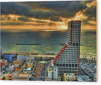 Wood Print featuring the photograph Tel Aviv Lego by Ron Shoshani