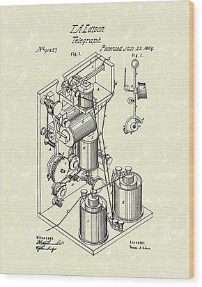 Telegraph 1869 Patent Art Wood Print by Prior Art Design