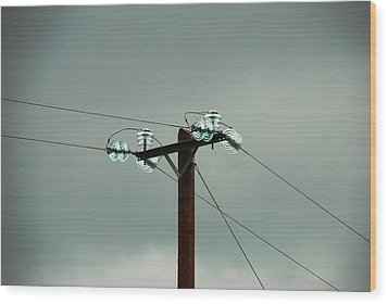 Telegraph Lines Wood Print by Charlie and Norma Brock