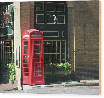 Telephone Booth Wood Print