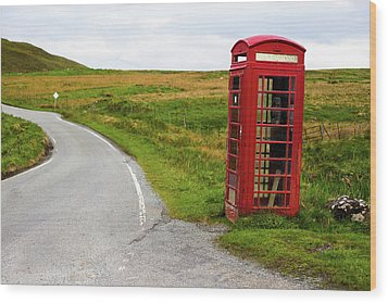 Wood Print featuring the photograph Telephone Booth On Isle Of Skye by Davorin Mance