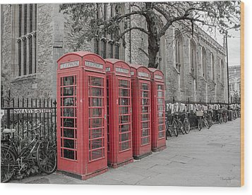 Telephone Boxes Wood Print