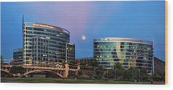 Wood Print featuring the photograph Tempe Town Lake Moon Rise by Dave Dilli