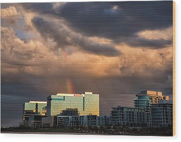 Wood Print featuring the photograph Tempe Town Lake Rainbow by Dave Dilli