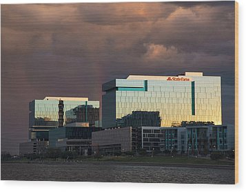 Wood Print featuring the photograph Tempe Town Lake Skyline by Dave Dilli