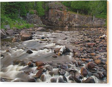 Temperance River Wood Print by Steve Stuller