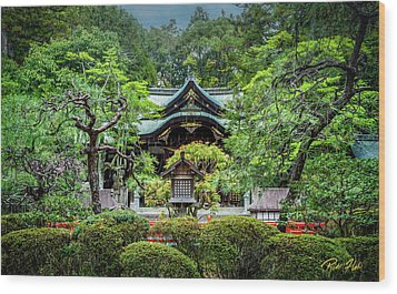Wood Print featuring the photograph Temple In The Rain by Rikk Flohr