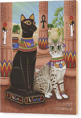 Wood Print featuring the painting Temple Of Bastet - Bast Goddess Cat by Carrie Hawks