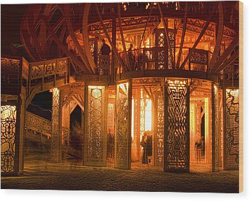 Temple Of Fire Wood Print by Michael Cleere