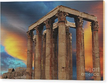 Temple Of Olympian Zeus Wood Print by Bob Christopher