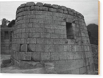 Wood Print featuring the photograph Temple Of The Sun, Machu Picchu, Peru by Aidan Moran