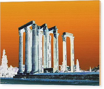 Temple Of Zeus, Athens Wood Print by Karen J Shine