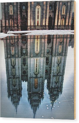 Temple Reflection Wood Print