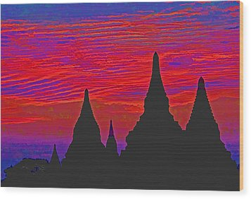 Temple Silhouettes Wood Print by Dennis Cox