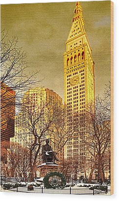 Ten Past Four At Madison Square Park Wood Print