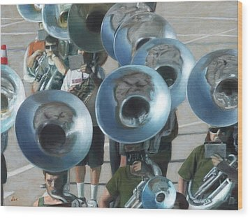 Ten Tubas Wood Print by David Clemons