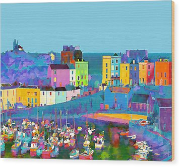 Tenby Harbour  I Wood Print by Gareth Davies