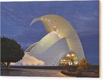 Tenerife Auditorium At Dusk Wood Print