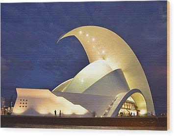 Tenerife Auditorium At Night Wood Print