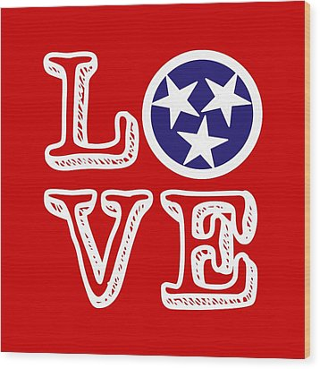 Wood Print featuring the digital art Tennessee Flag Love by Heather Applegate
