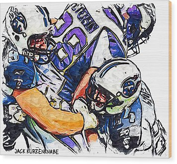 Tennessee Titans Karl Klug And Chris Hope And Minnesota Vikings Adrian Peterson Wood Print by Jack K