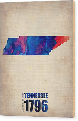 Tennessee Watercolor Map Wood Print by Naxart Studio