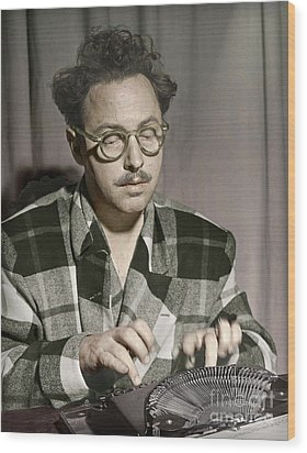 Tennessee Williams At His Typewriter Wood Print