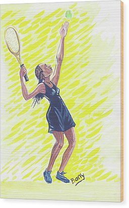 Tennis 01 Wood Print by Emmanuel Baliyanga