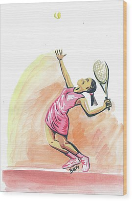 Tennis 03 Wood Print by Emmanuel Baliyanga