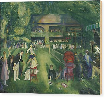 Tennis At Newport Wood Print by George Bellows