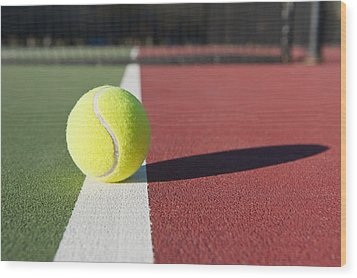 Tennis Ball Sitting On Court Wood Print by Thom Gourley/Flatbread Images, LLC