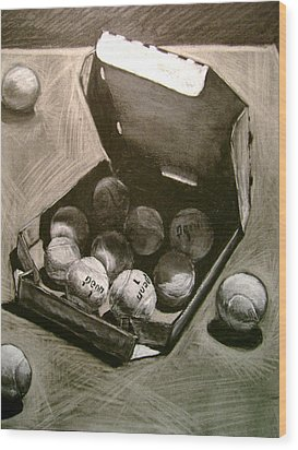 Tennis Balls In A Pizza Box Precisely Wood Print by Nils Beasley