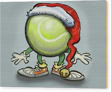 Tennis Christmas Wood Print by Kevin Middleton