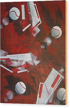 tennis on Mars Wood Print by Evguenia Men