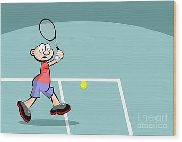 Tennis Player Runs A Powerful Backhand With His Right Hand Hitting The Ball Wood Print