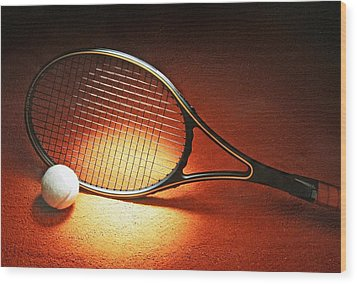 Tennis Racket Wood Print
