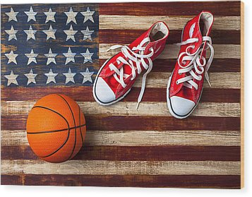 Tennis Shoes And Basketball On Flag Wood Print by Garry Gay