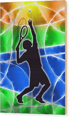 Tennis Wood Print by Stephen Younts