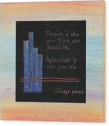 Tension Is...in Orange And Blue Wood Print by Andrea Swope
