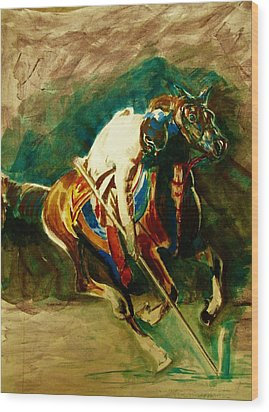 Tent Pegging Sport Wood Print by Khalid Saeed