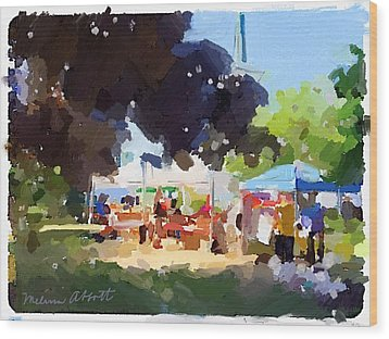 Tents And Church Steeple At Rockport Farmers Market Wood Print