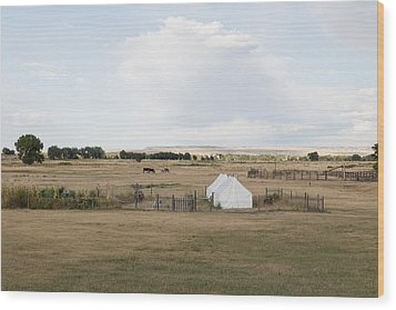 Tents At Fort Laramie National Historic Site In Goshen County Wood Print by Carol M Highsmith