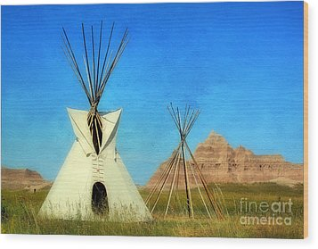 Tepee In Badlands Wood Print