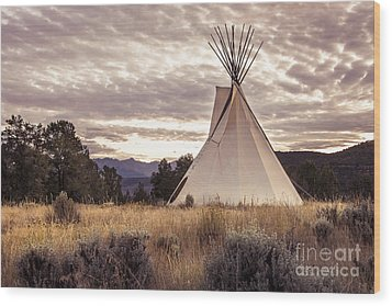 Wood Print featuring the photograph Tepee by The Forests Edge Photography - Diane Sandoval