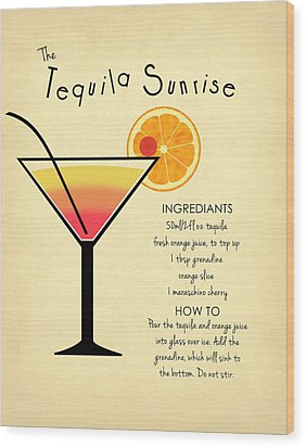 Tequila Sunrise Wood Print by Mark Rogan