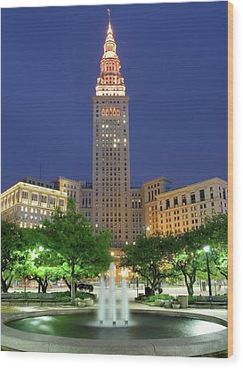 Terminal Tower Wood Print by Frozen in Time Fine Art Photography