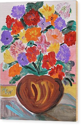 Terra Cotta And Mixed Bouquet Wood Print by Mary Carol Williams