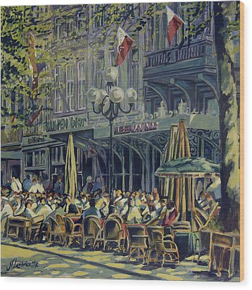 Terrace At The Vrijthof In Maastricht Wood Print by Nop Briex