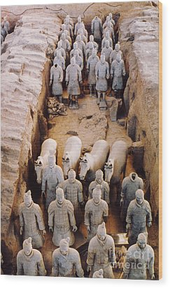 Wood Print featuring the photograph Terracotta Army by Heiko Koehrer-Wagner